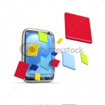 stock-photo-applications-are-flying-from-phone-d-rendered-69530245