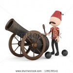stock-photo--d-human-with-ramadan-cannon-isolated-136130141